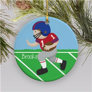 Personalized Football Player Christmas Ornament