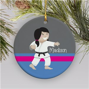Personalized Girl Karate Christmas Ornament | Ceramic