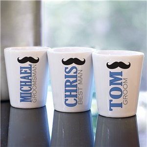 Personalized Mustache Wedding Party Shot Glass