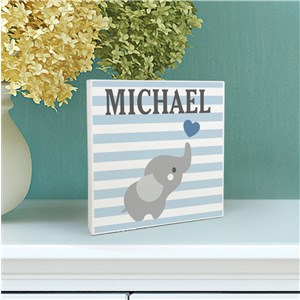 Personalized Elephant Striped 6x6 Table Top Sign