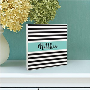 Personalized Baby Stripes 6x6 Table Top Sign