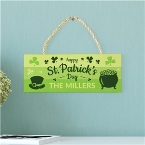Personalized Happy St. Patrick's Day Rope Hanging Sign