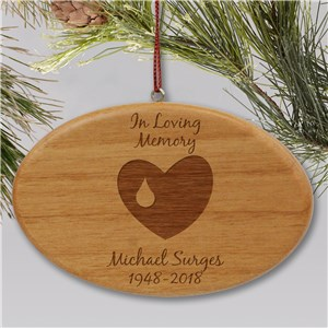 Engraved In Loving Memory Memorial Wooden Oval Ornament