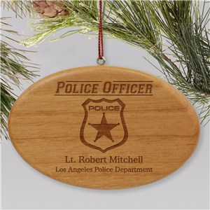 Engraved Police Officer Wooden Oval Holiday Ornament