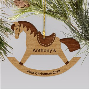 Personalized Rocking Horse Wood Christmas Ornament