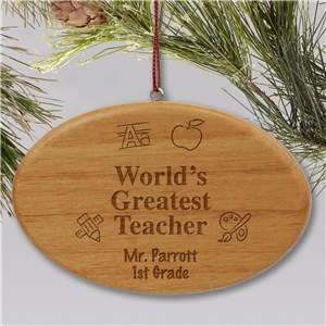 Engraved Wooden Oval Teacher Christmas Ornament