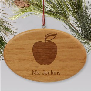 Engraved Wooden Oval Teacher Holiday Ornament