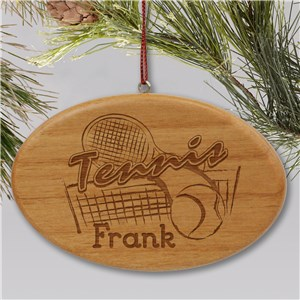 Engraved Tennis Wooden Oval Christmas Ornament