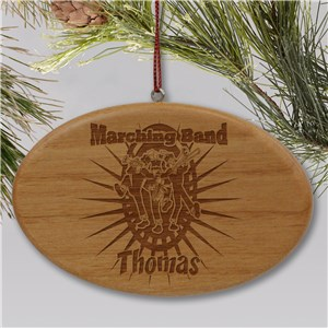 Engraved Marching Band Wooden Oval Holiday Ornament
