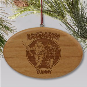 Engraved Lacrosse Wooden Oval Christmas Ornament
