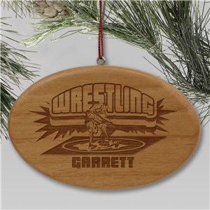 Engraved Wrestling Wooden Oval Holiday Ornament